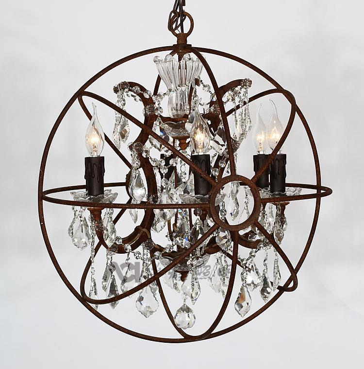 Vintage Crystal Pendant Light K9 Crystal Rustic Iron Chandelier Lights