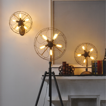 Industrial vintage rustic loft style fan shape floor lamp