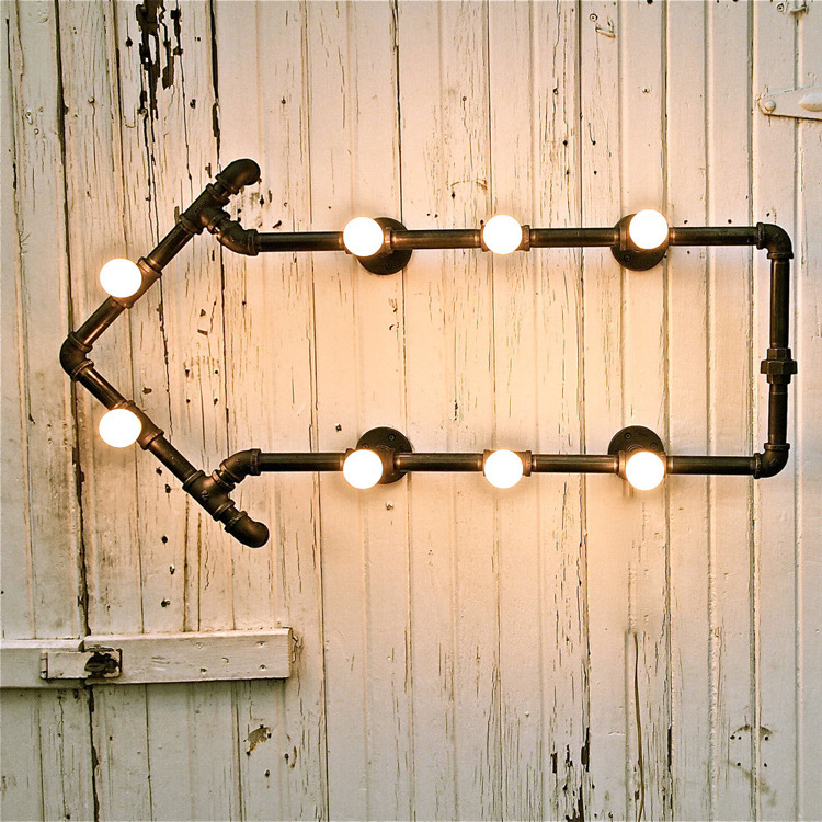 Vintage Iron Pipe Wall Lamp Edison Bulb Wall Lamp Antique Wall Lamp Rust Iron Wall Lamp Lights