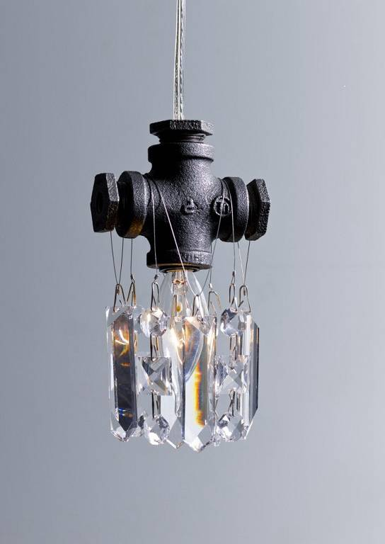 Luxury crystal decorated three lines contemporary pendant light