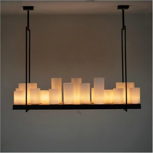 European style Rectangle modern candle decorative modern chandelier, Iron white glass candle Chandelier