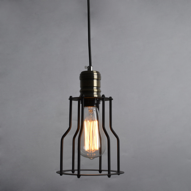 RH Bronze Lamp Holder Iron Cage Loft Style Pendant Light UL CE