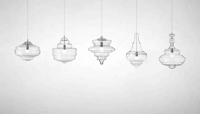 Five Hand-Blown Glass Suspension Lights and Pendant Lamp