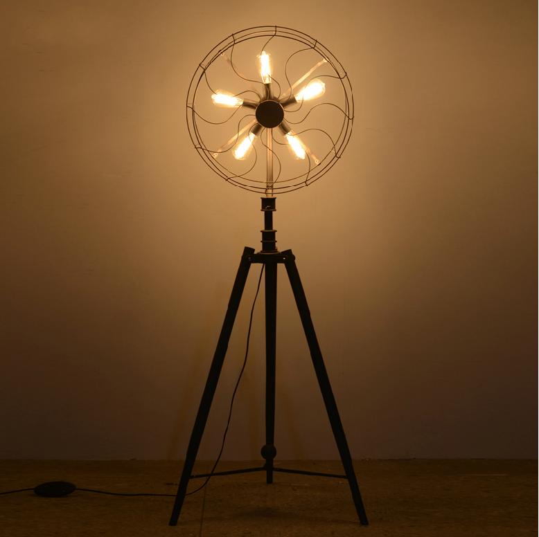 Industrial Vintage Rustic Loft Style Fan Shape Floor Lamp